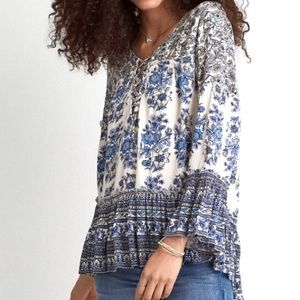 American Eagle Bell Sleeve Blue Floral Peasant Top